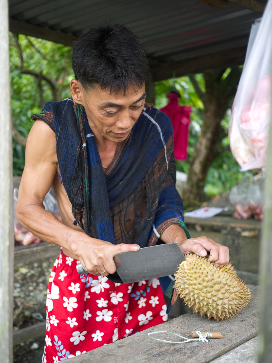 Opening our durian