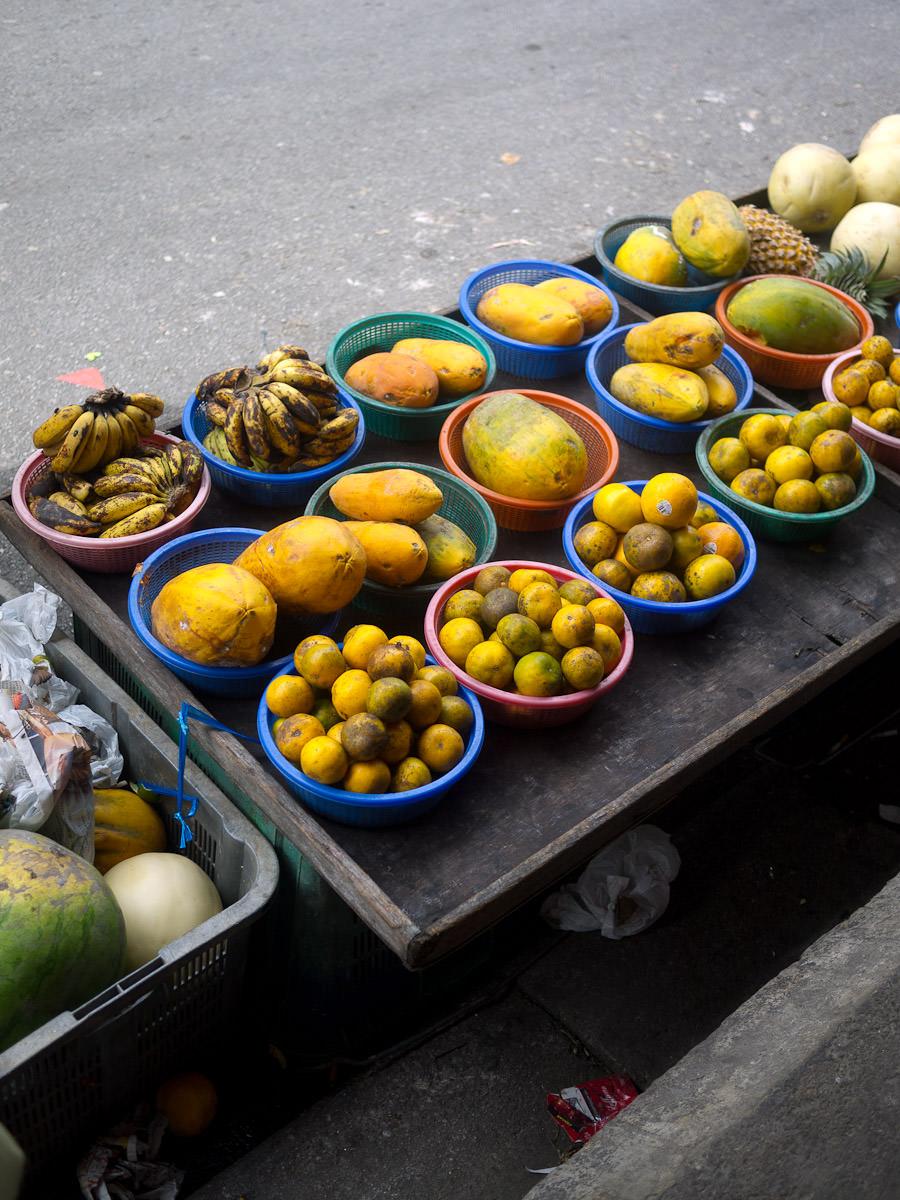 Bananas, papayas, pineapples, oranges