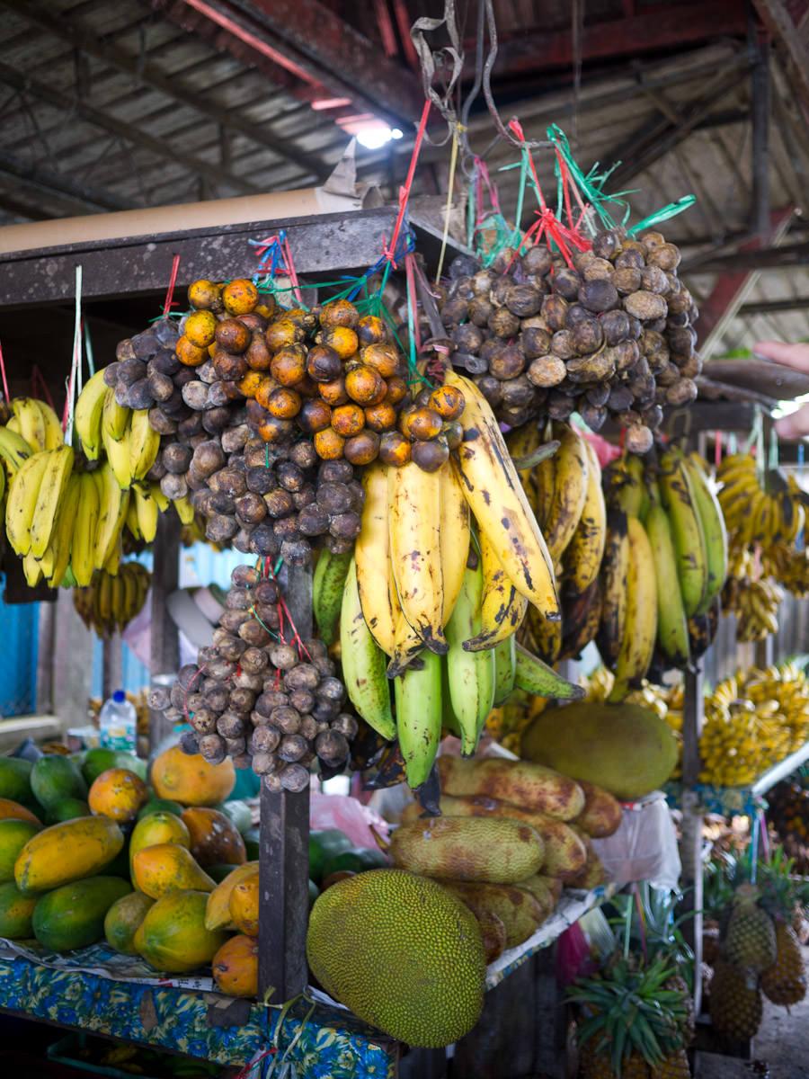 Bananas, jackfruit, papaya, langsat