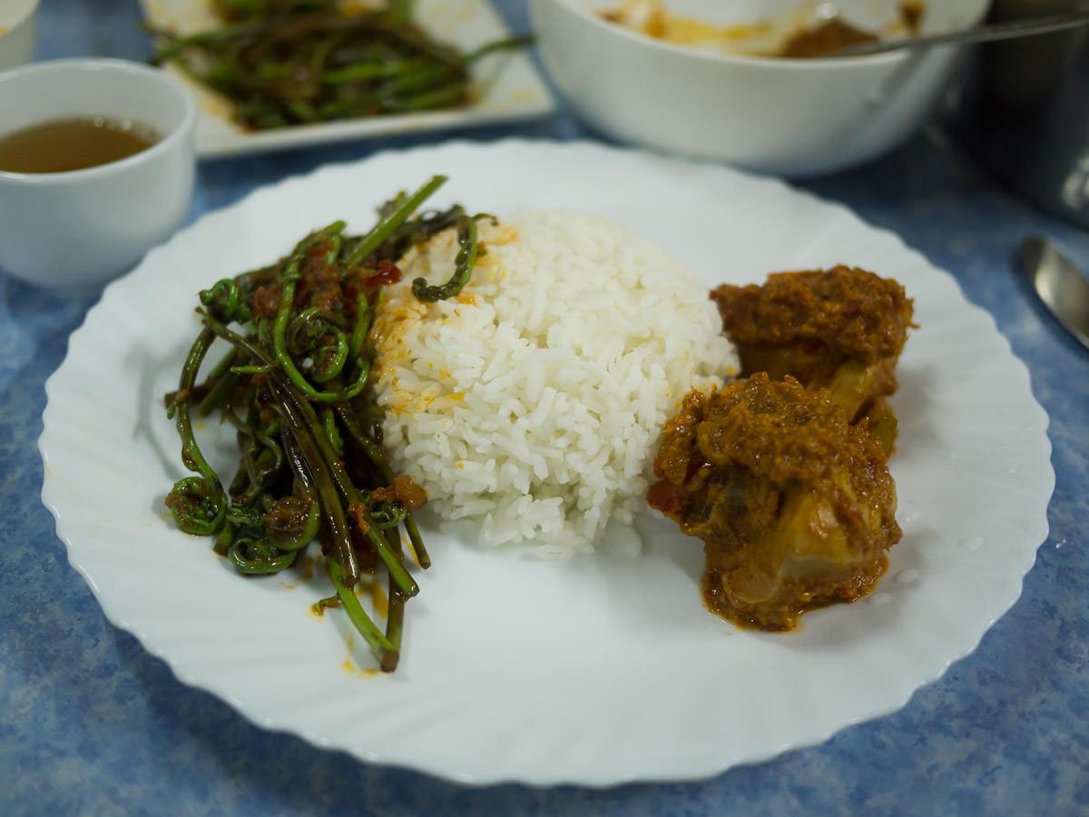 Midin sambal belacan, rice and rendang ayam