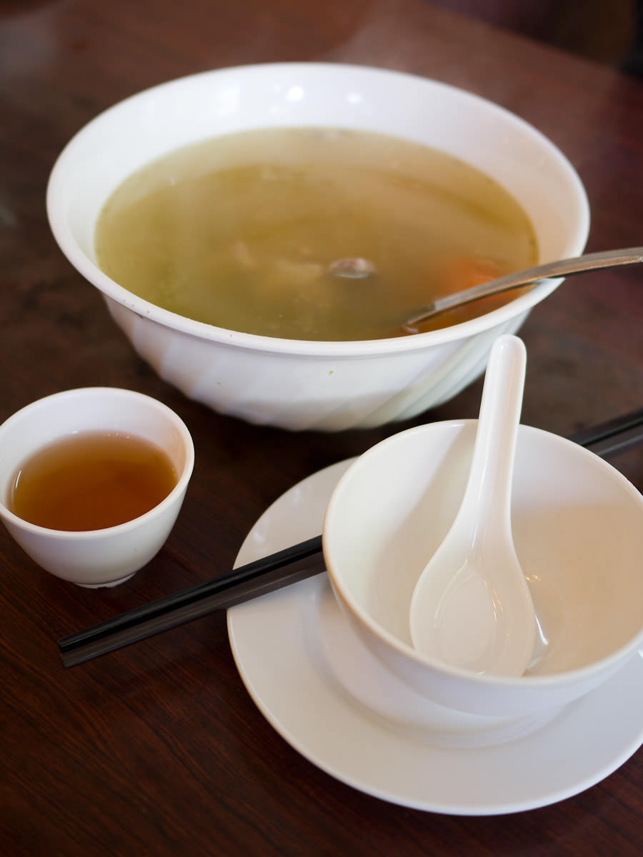 Complimentary soup and Chinese tea