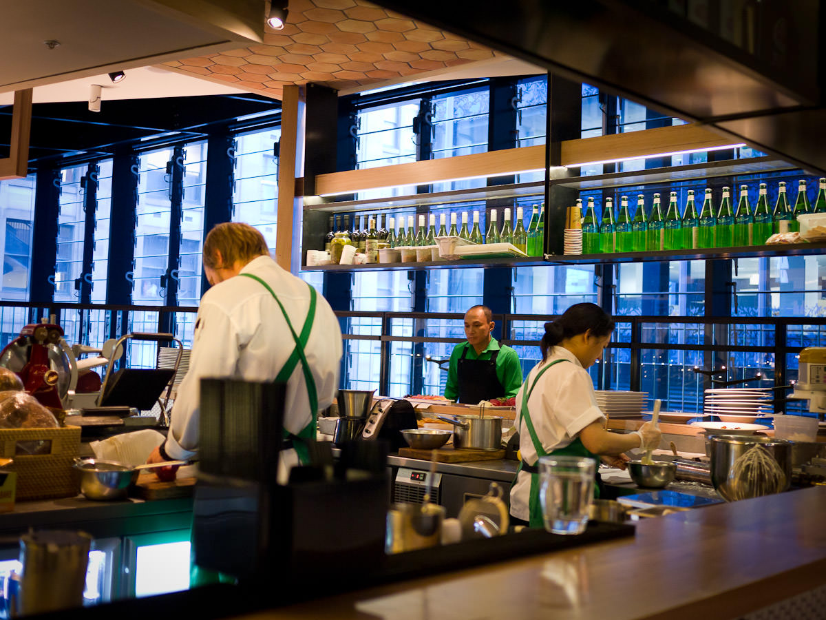 You can watch the cold larder and dessert chefs at work as you sit at the bar