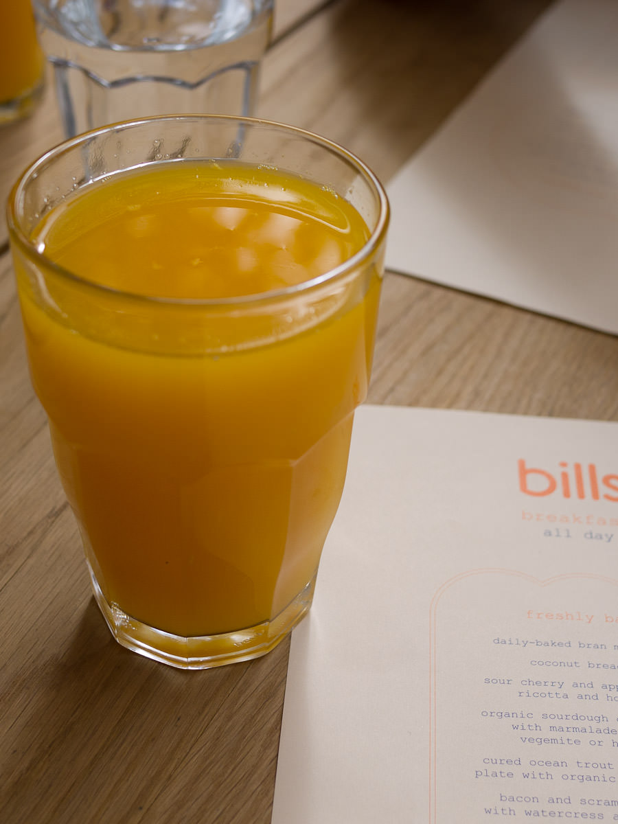 Freshly squeezed orange juice (AU$6.50)