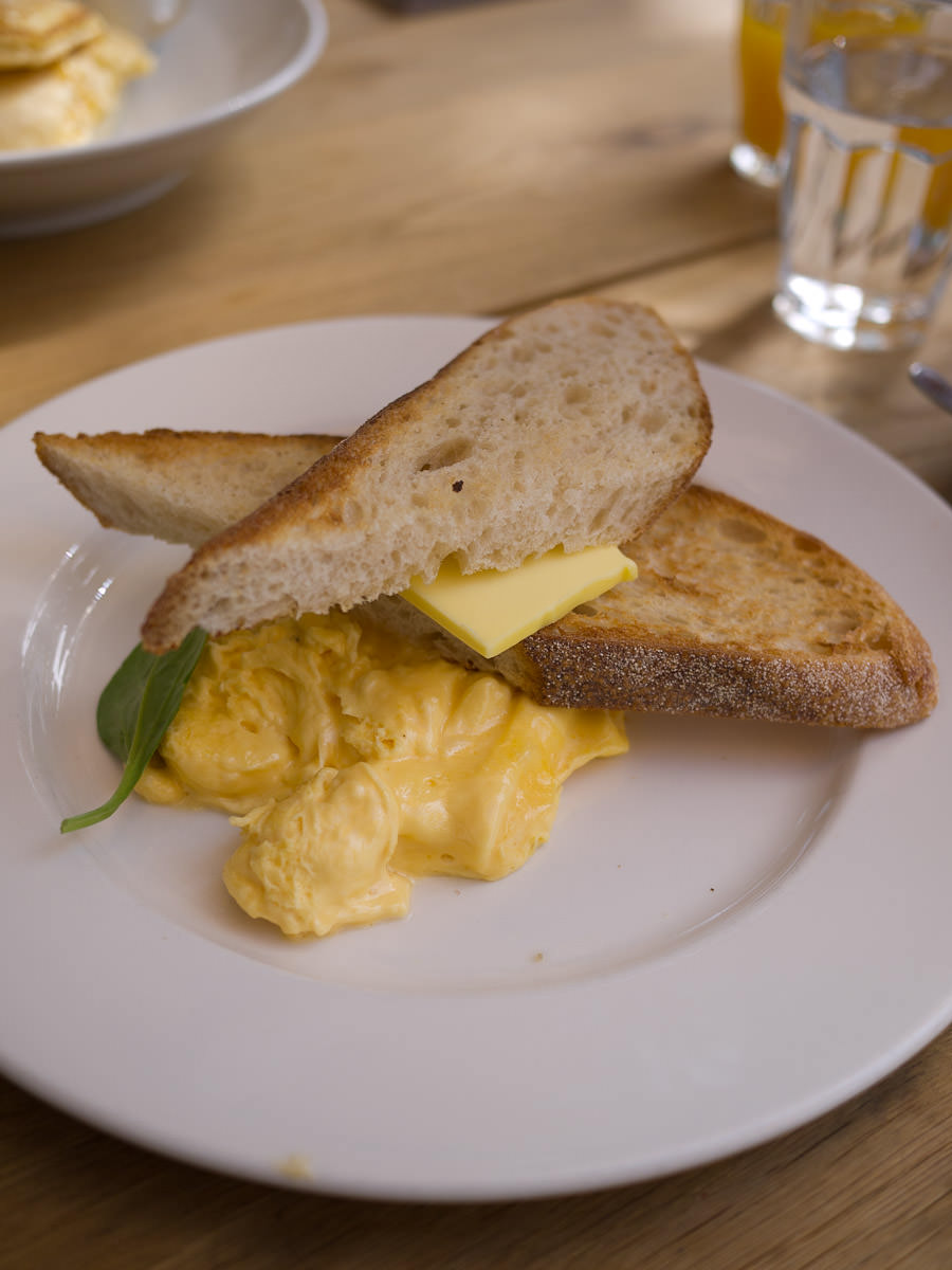 Scrambled eggs with sourdough toast (AU$13.50)