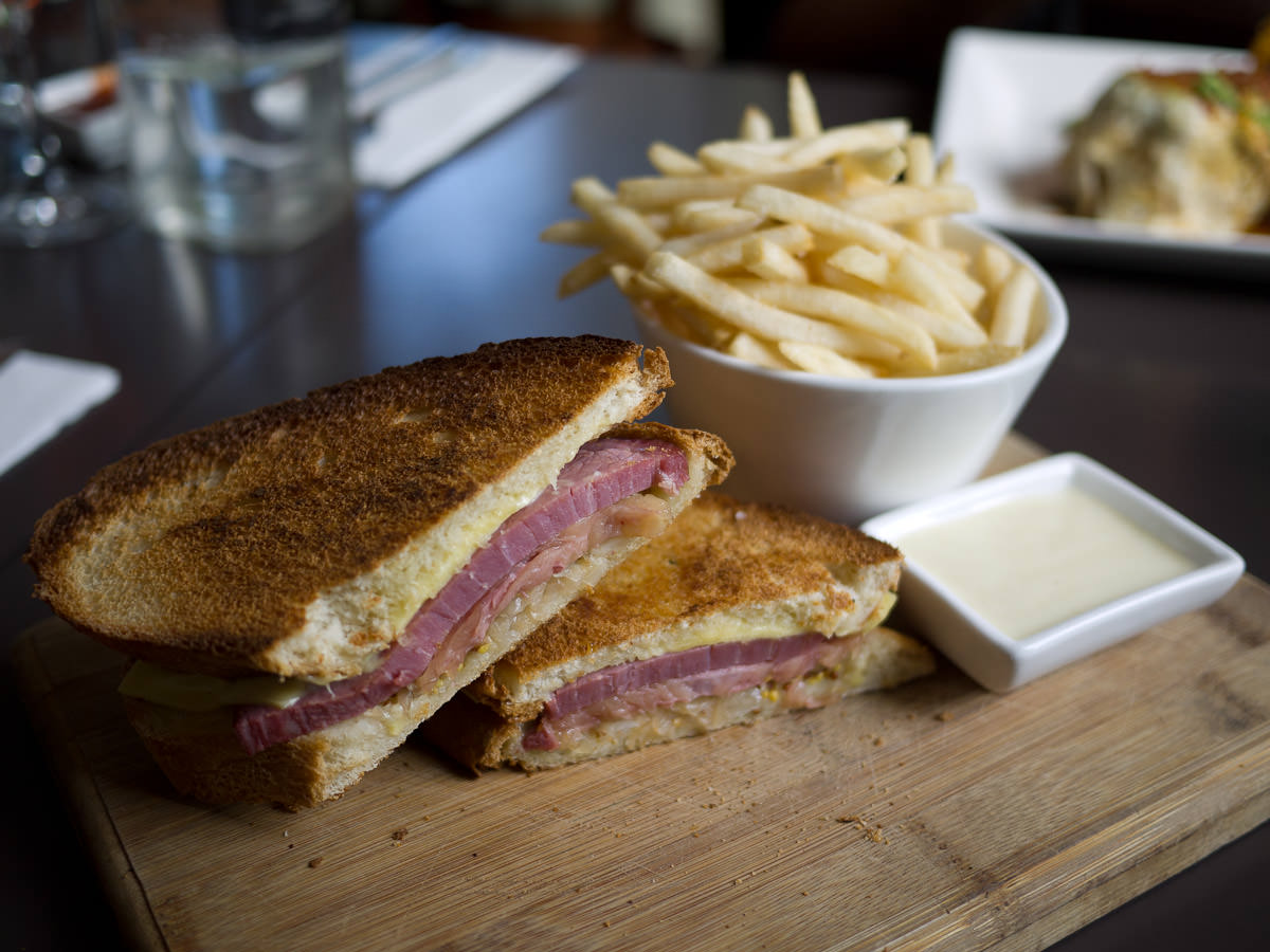 Reuben Ish (AU$9.50) with fries and wasabi mayo (+AU$3.50)