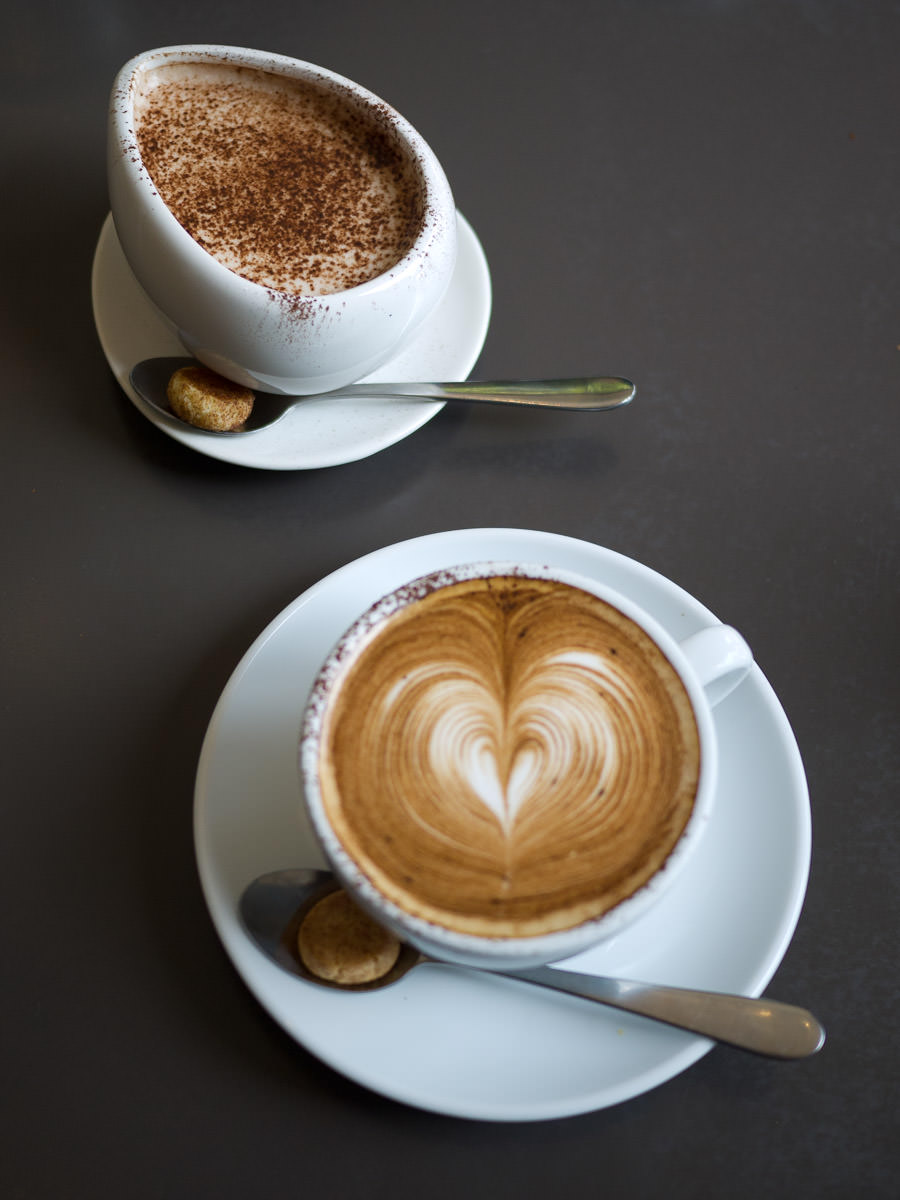 Wattle Maccacino and hot chocolate