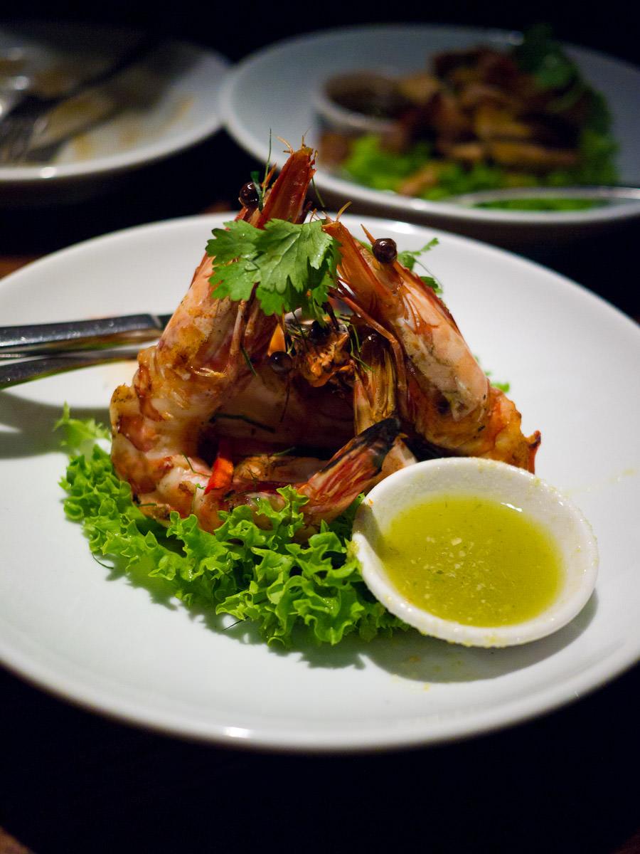 Goong yang, char grilled prawns (AU$19)
