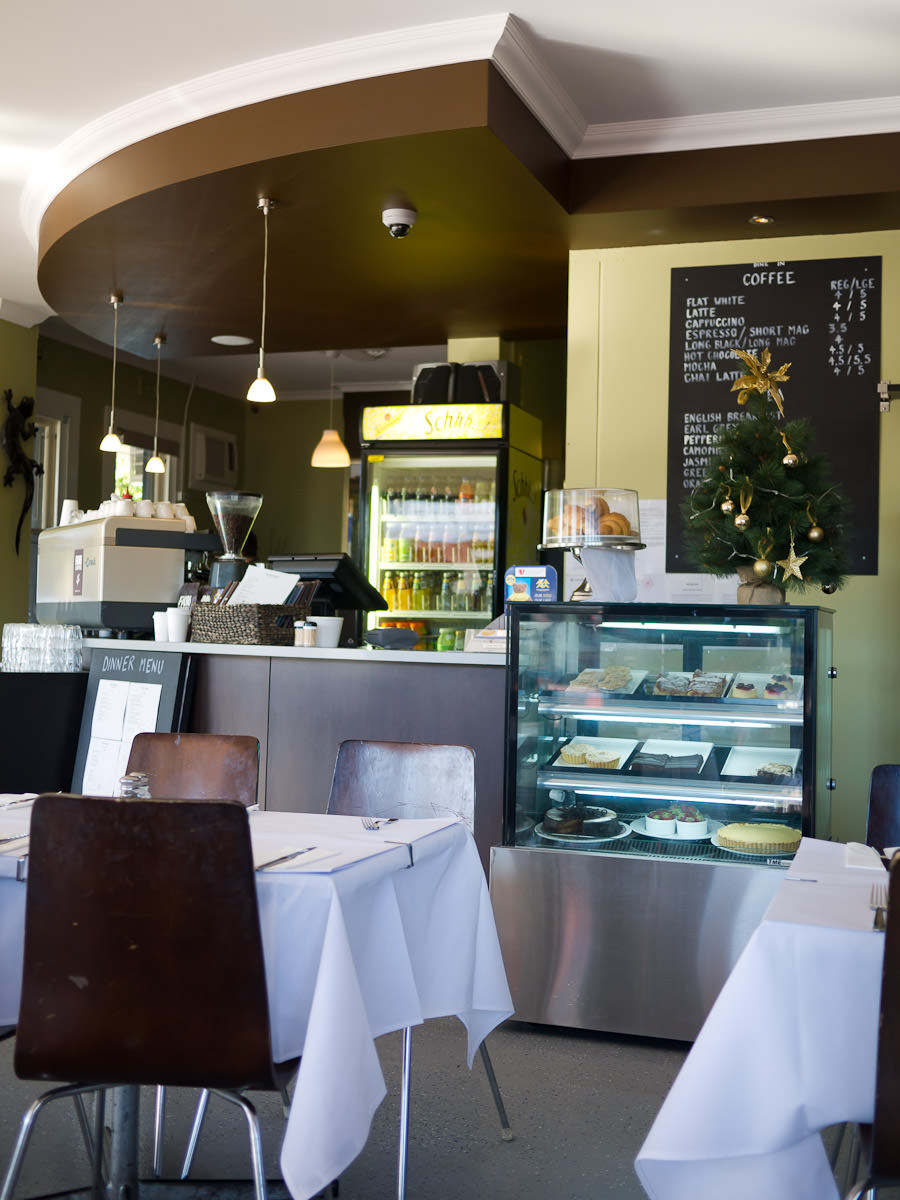 Coffee machine, front counter and cake display, The Woody Pear, Victoria Park