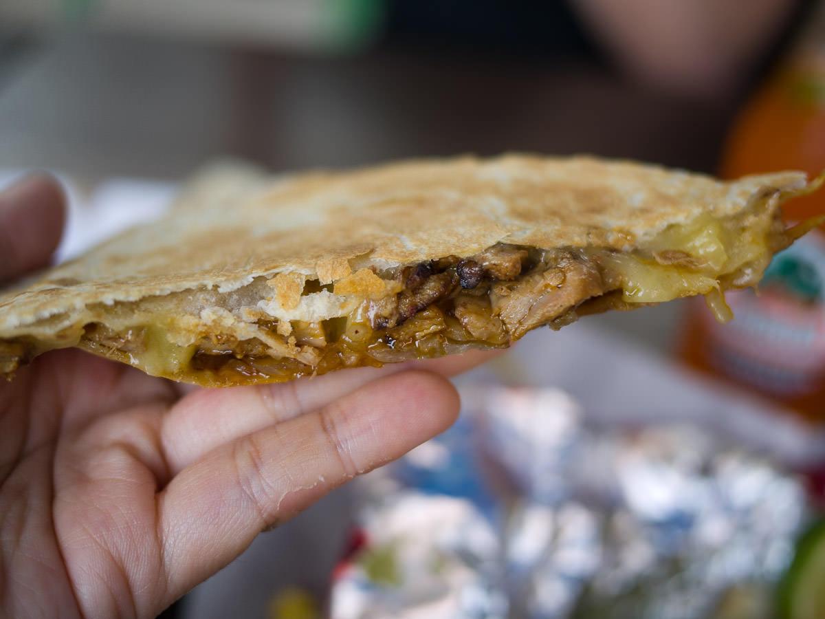 Chicken quesadilla close-up