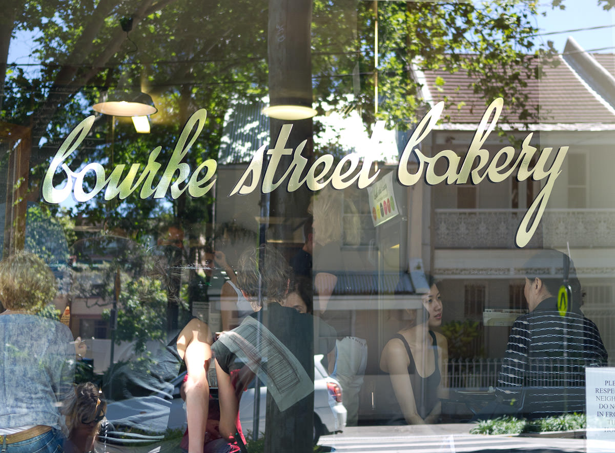 It's busy inside Bourke Street Bakery (peering through window)