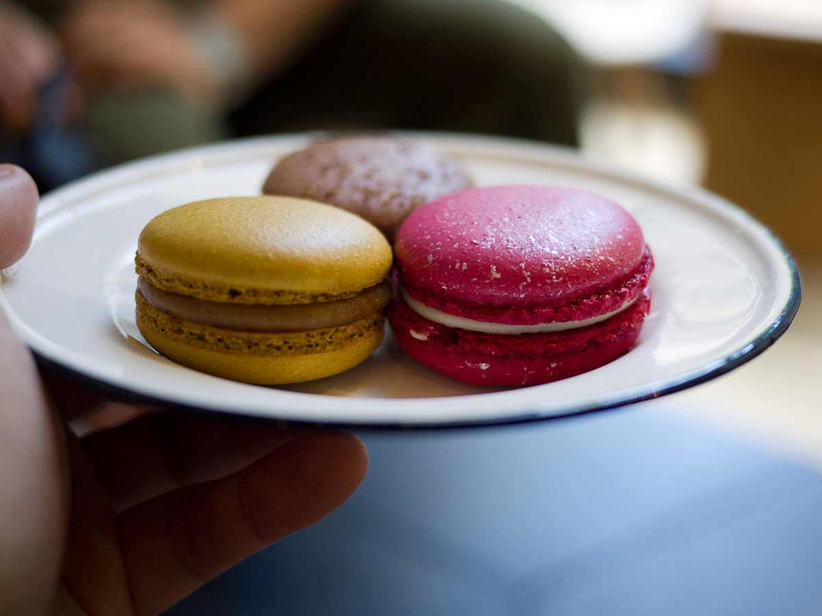 Macarons: caramel, raspberry lychee, Dear Chris