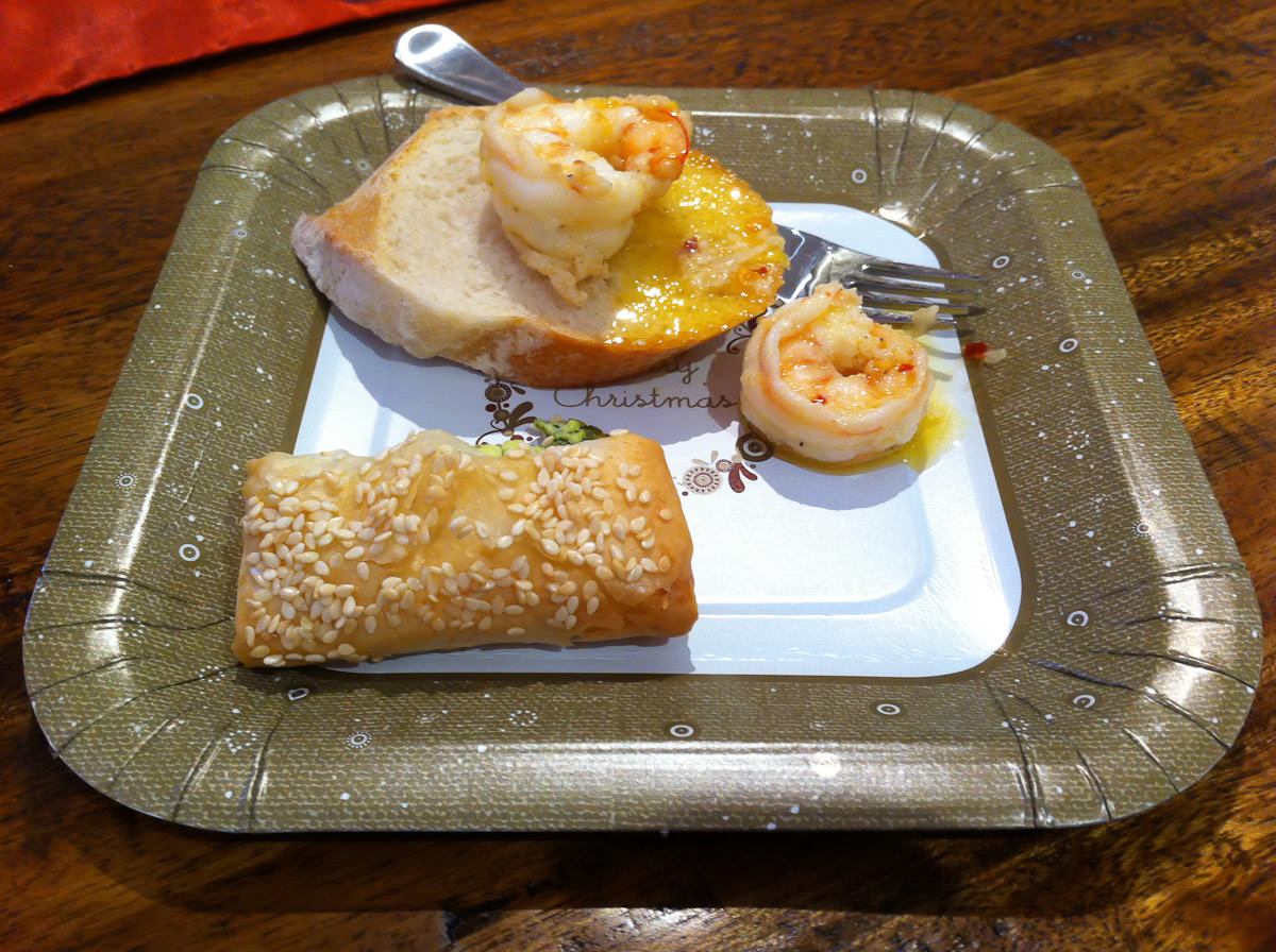 Garlic chilli prawns, bread and filo cheese pastry cigar