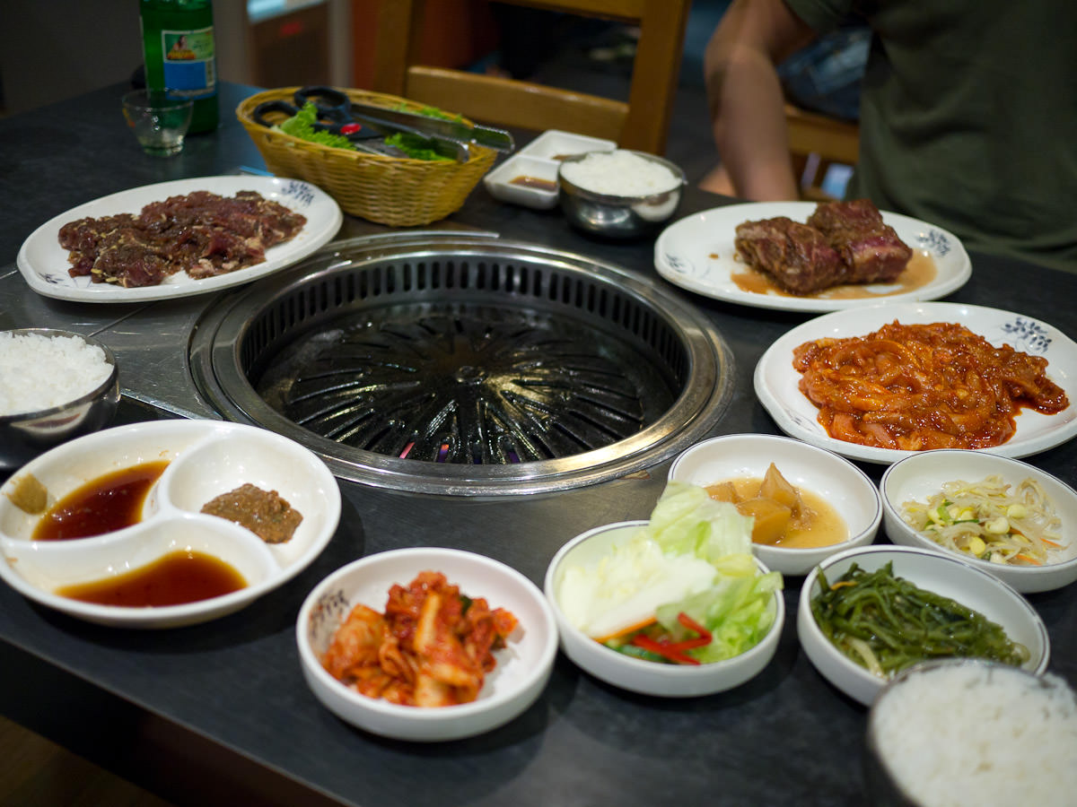 Korean BBQ meats and banchan