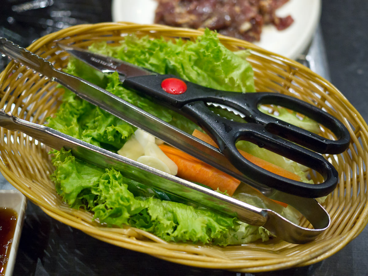 Salad, scissors, tongs