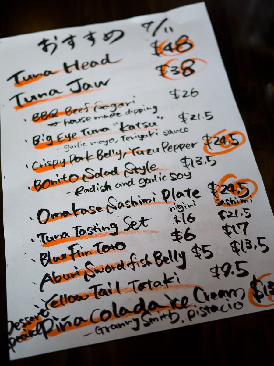 Handwritten specials menu