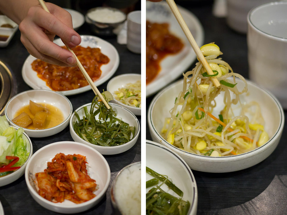 Digging into the banchan