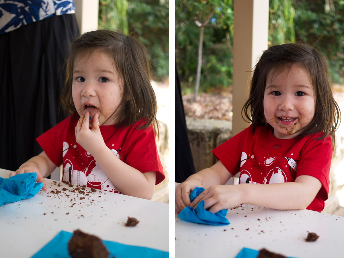 Chocolate cake makes such a mess!