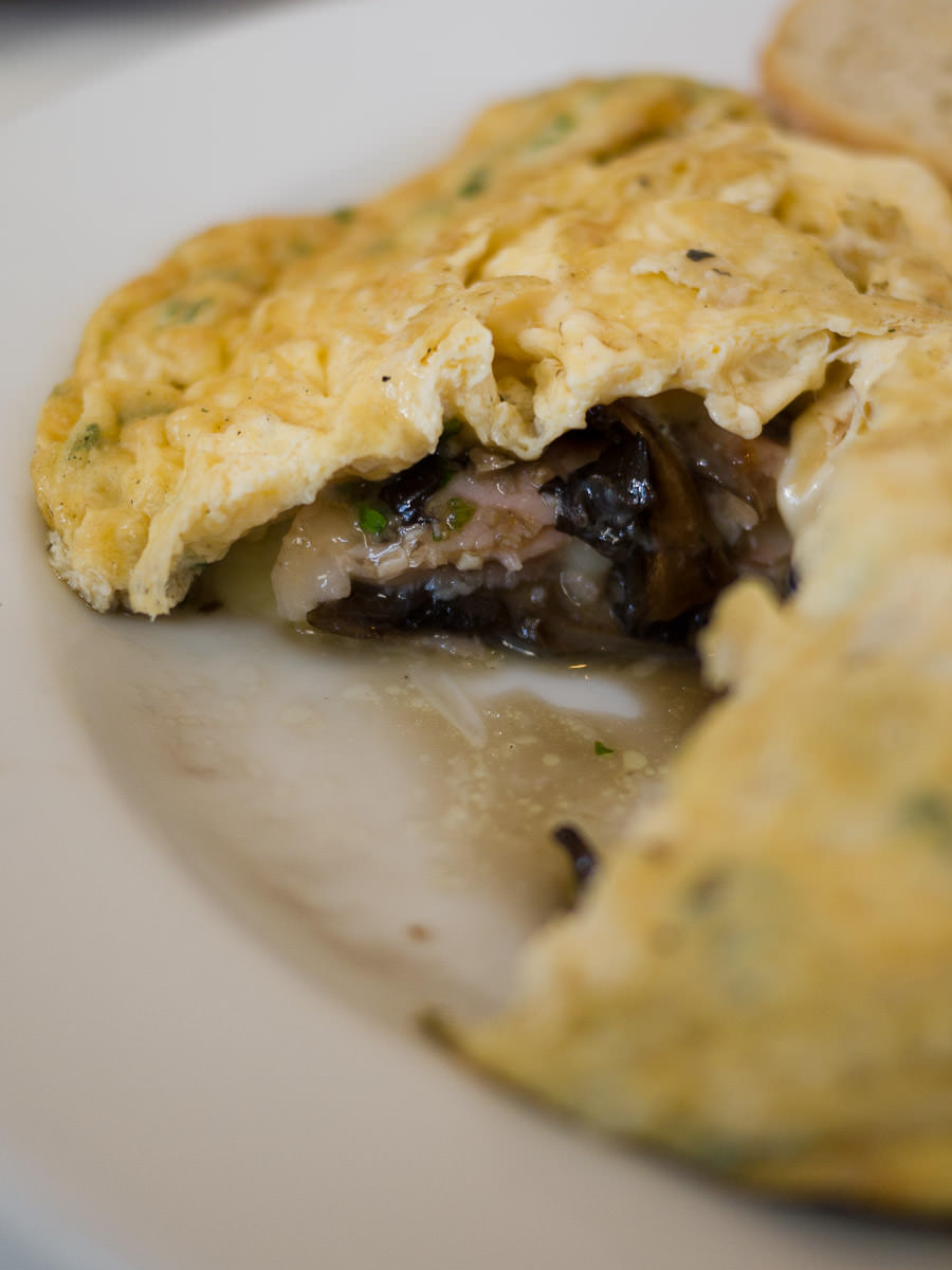 Omelette innards - with smoked ham, mushrooms, chives and provolone cheese (AU$17)