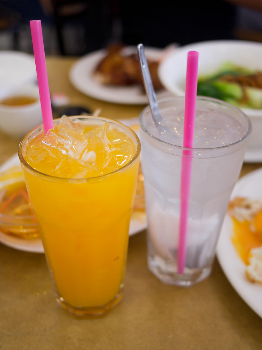 Fresh orange juice and coconut juice