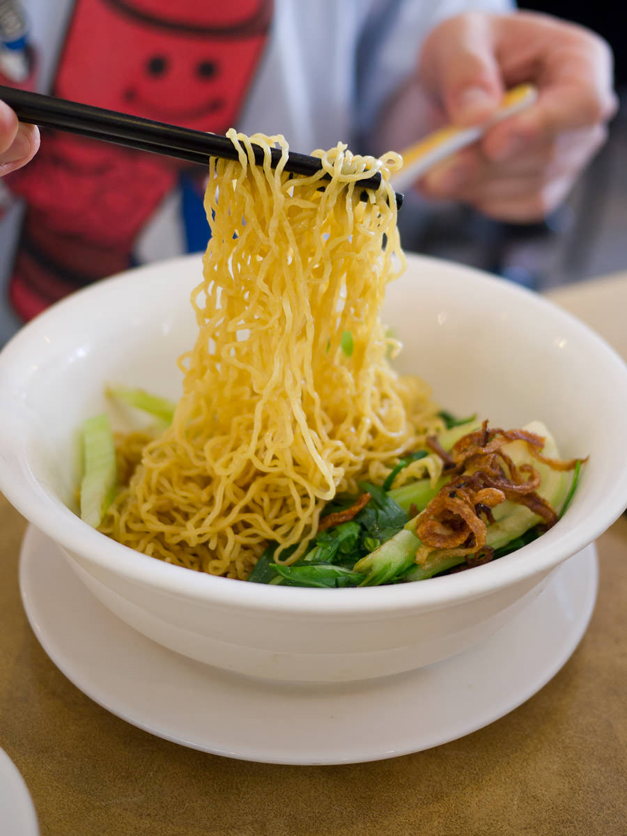 Egg noodle with crispy skin chicken (dry) AU$10.50