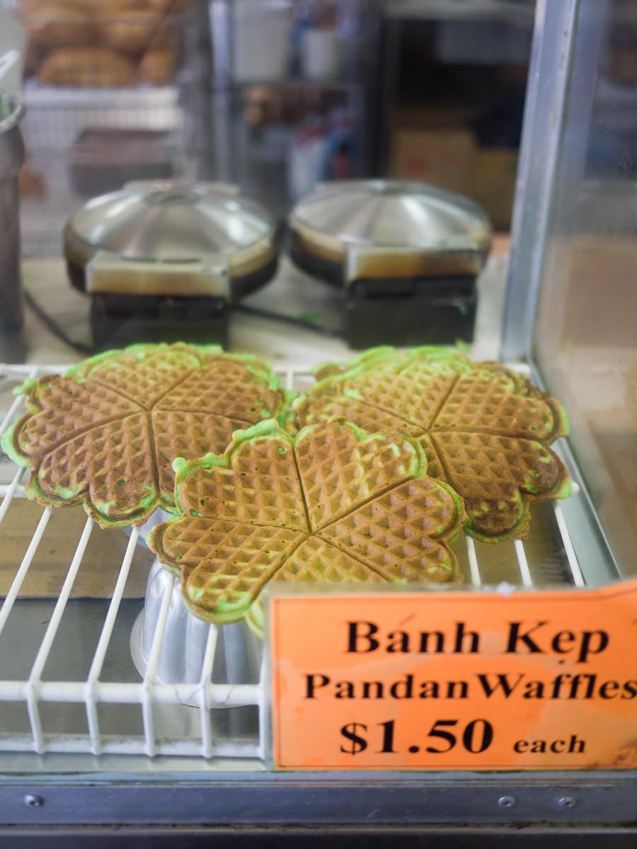 Banh kep - pandan waffles (AU$1.50 each)