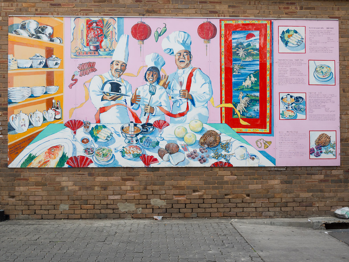 Food mural near Freedom Plaza, Cabramatta