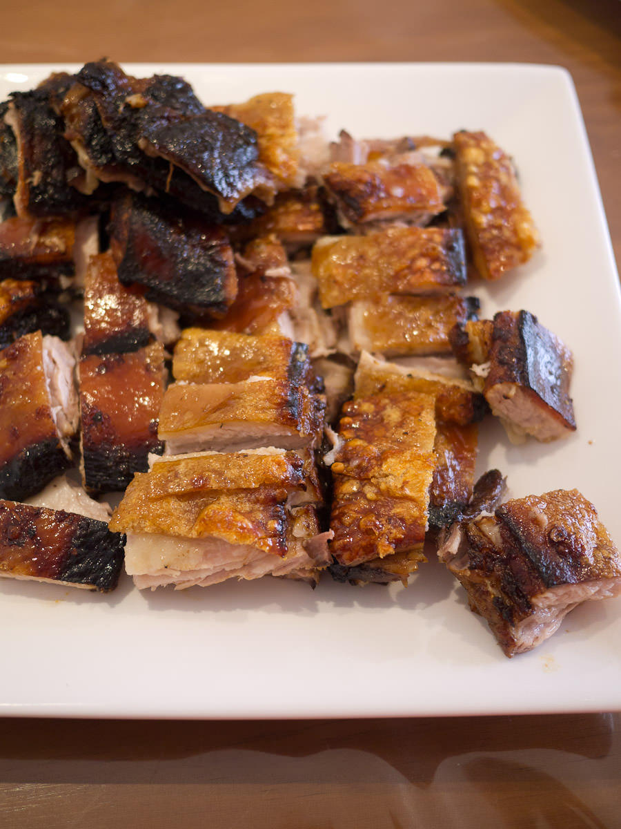 Roasted pork belly is served