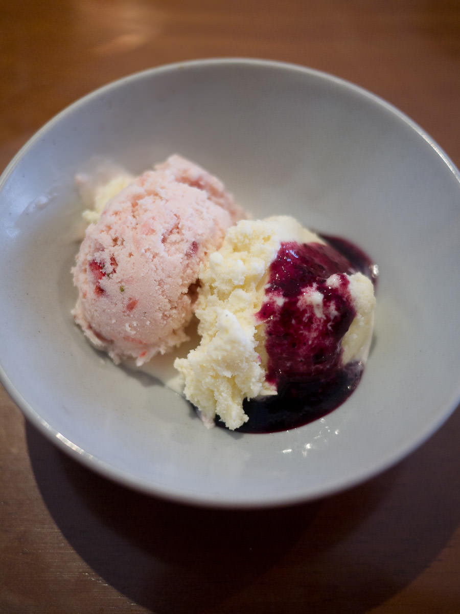 Homemade strawberry and vanilla ice creams
