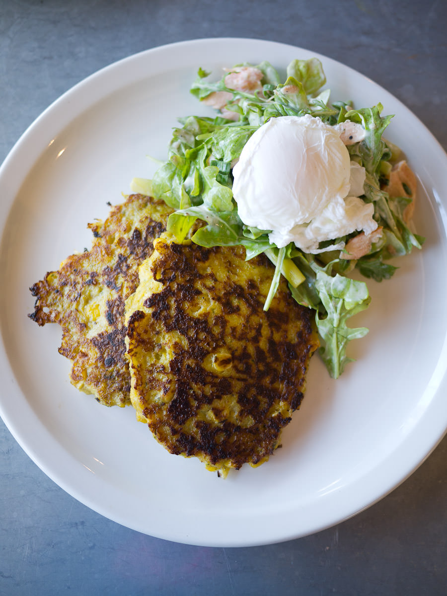 Corn fritters, hot smoked salmon, asparagus, egg  (AU$19.50)