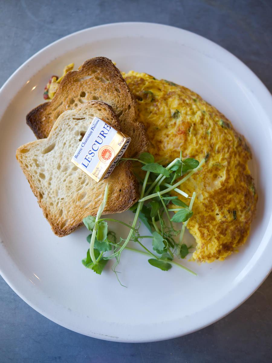 Crab, chorizo & spring onion omelette (AU$17)