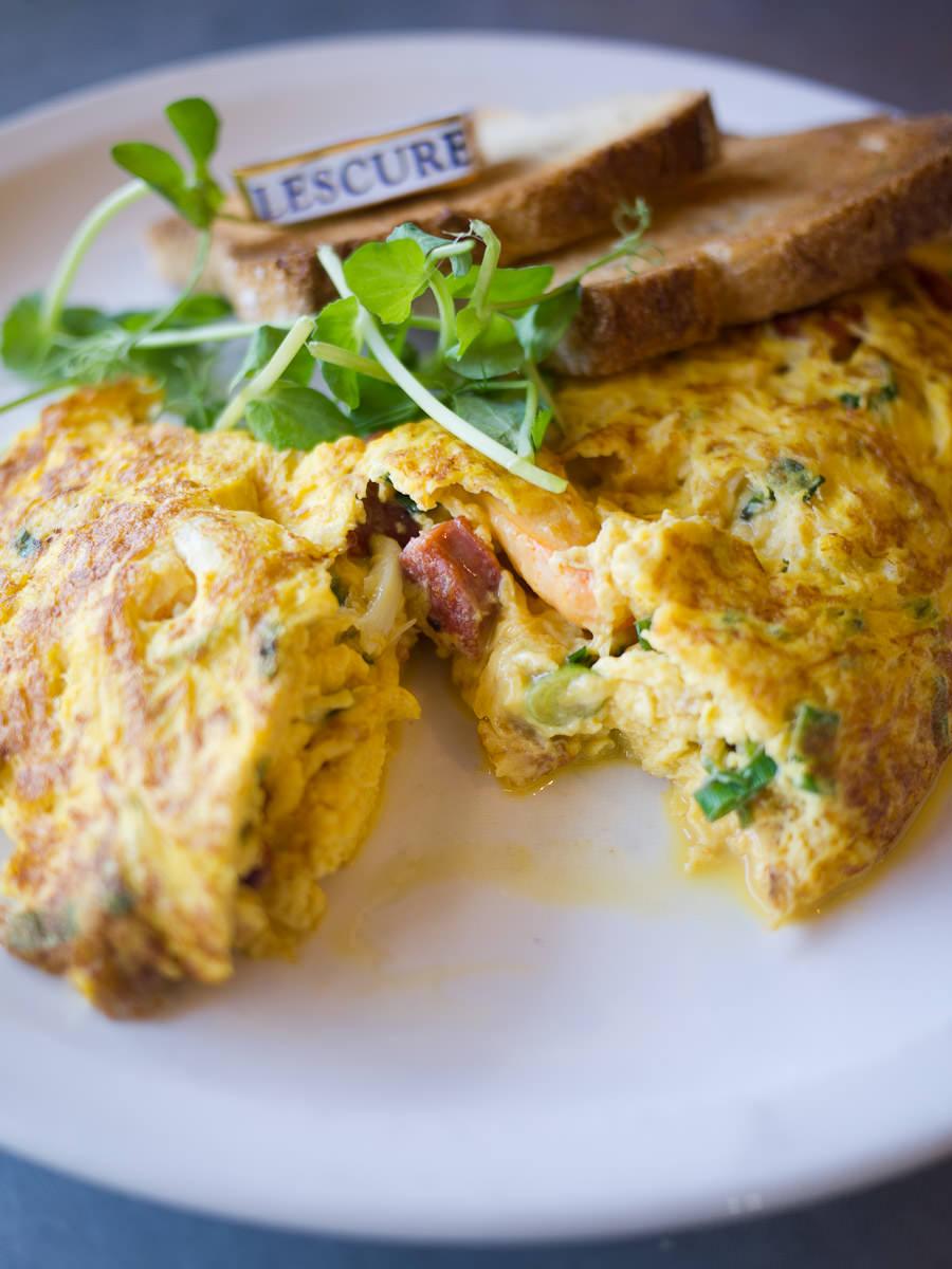 Crab, chorizo & spring onion omelette - innards