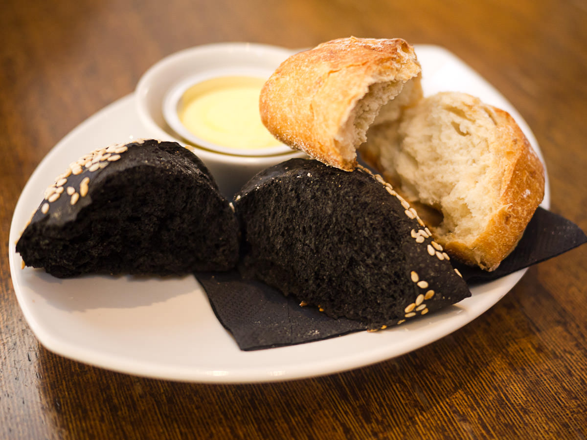 Squid ink and caramelised onion bread - innards