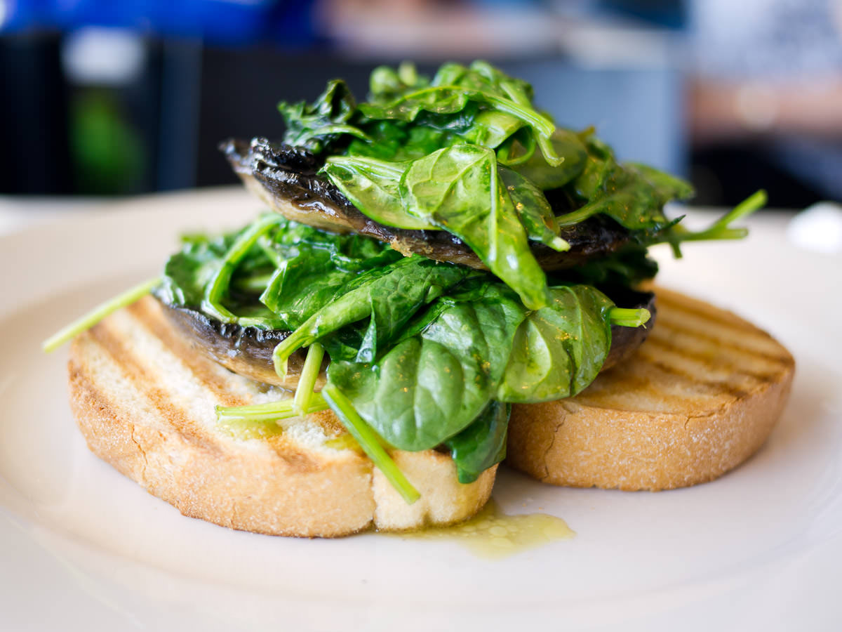 Field mushroom and spinach stack (AU$14.50)