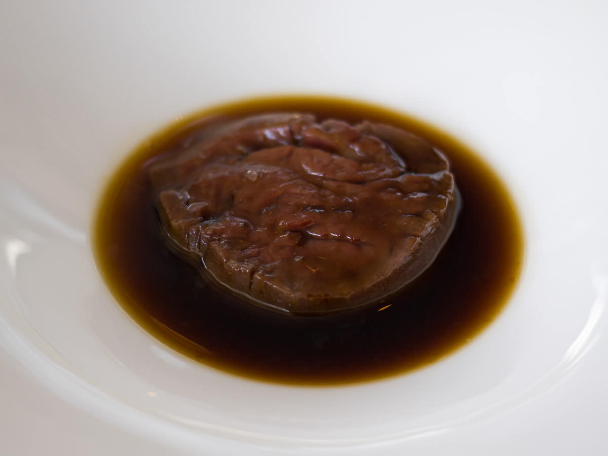Pure-bred wagyu, bitter chocolate black pudding, oxtail consomme
