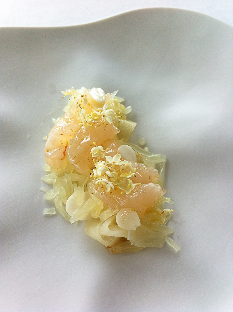 Raw native freshwater marron, young almonds, bergamot marmalade, pomelo, green mango, elder, chamomile