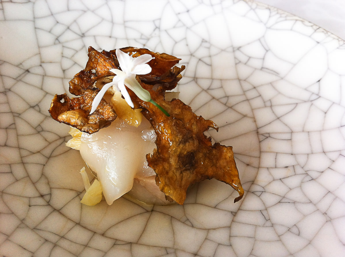 Smoked and confit pig jowl, shitake, shaved scallop, Jerusalem artichoke, juniper, bay