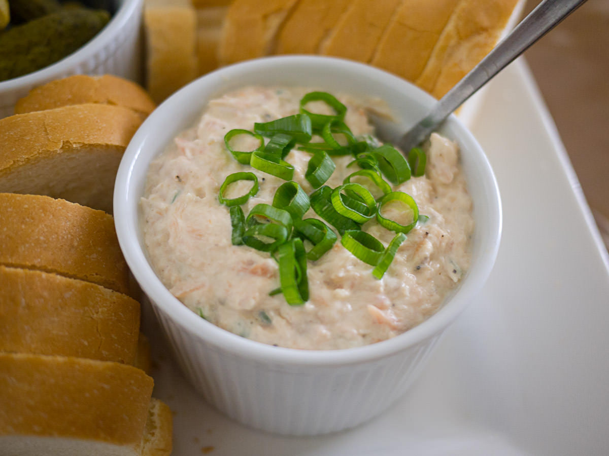 Smoked trout dip and bread