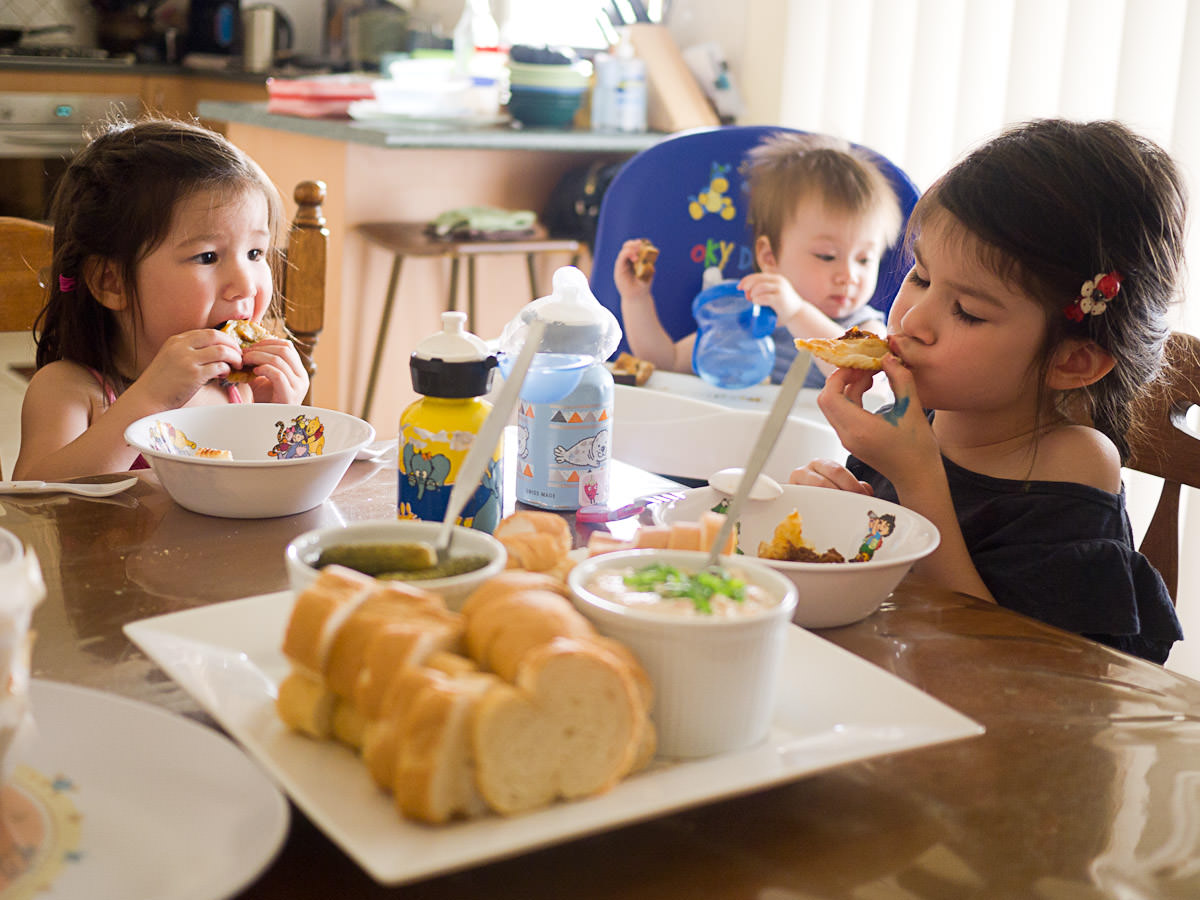 The kids tuck into afternoon tea