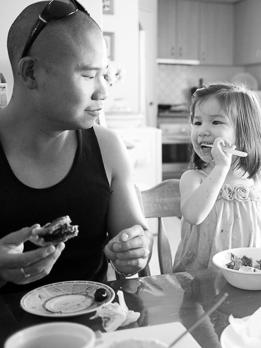 Zoe and her Daddy enjoying Ma-Ma's pies
