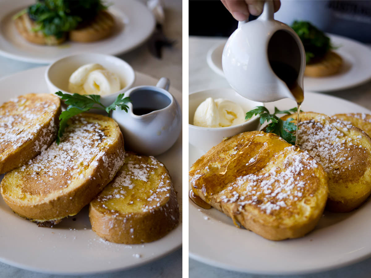 French toast with ice cream and maple syrup (AU$14.50)