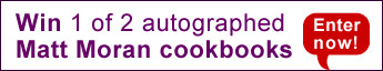 Competition banner - Win 1 of 2 autographed Matt Moran books