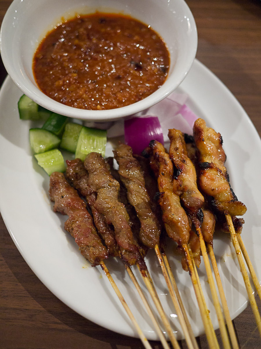 Chicken/ beef satay $9 for 1/2 dozen or $16 for dozen