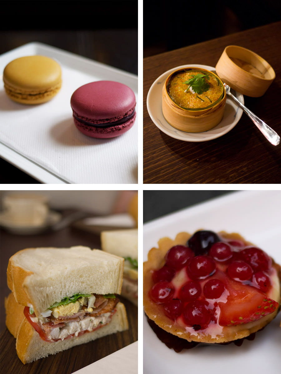 Starting top left, clockwise: macarons, otak-otak, mixed berry tart, smoked bacon, poached chicken and smashed egg sandwich