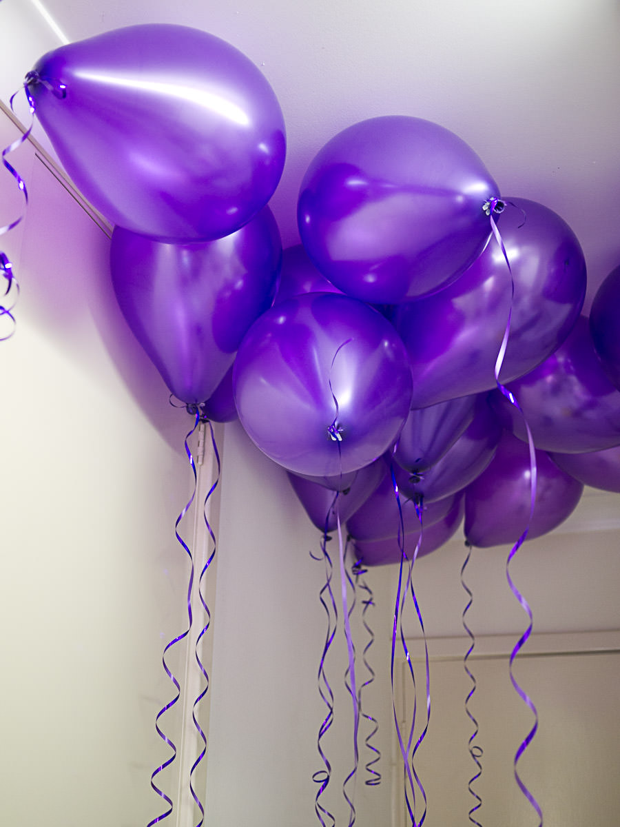 Purple balloons filled with helium