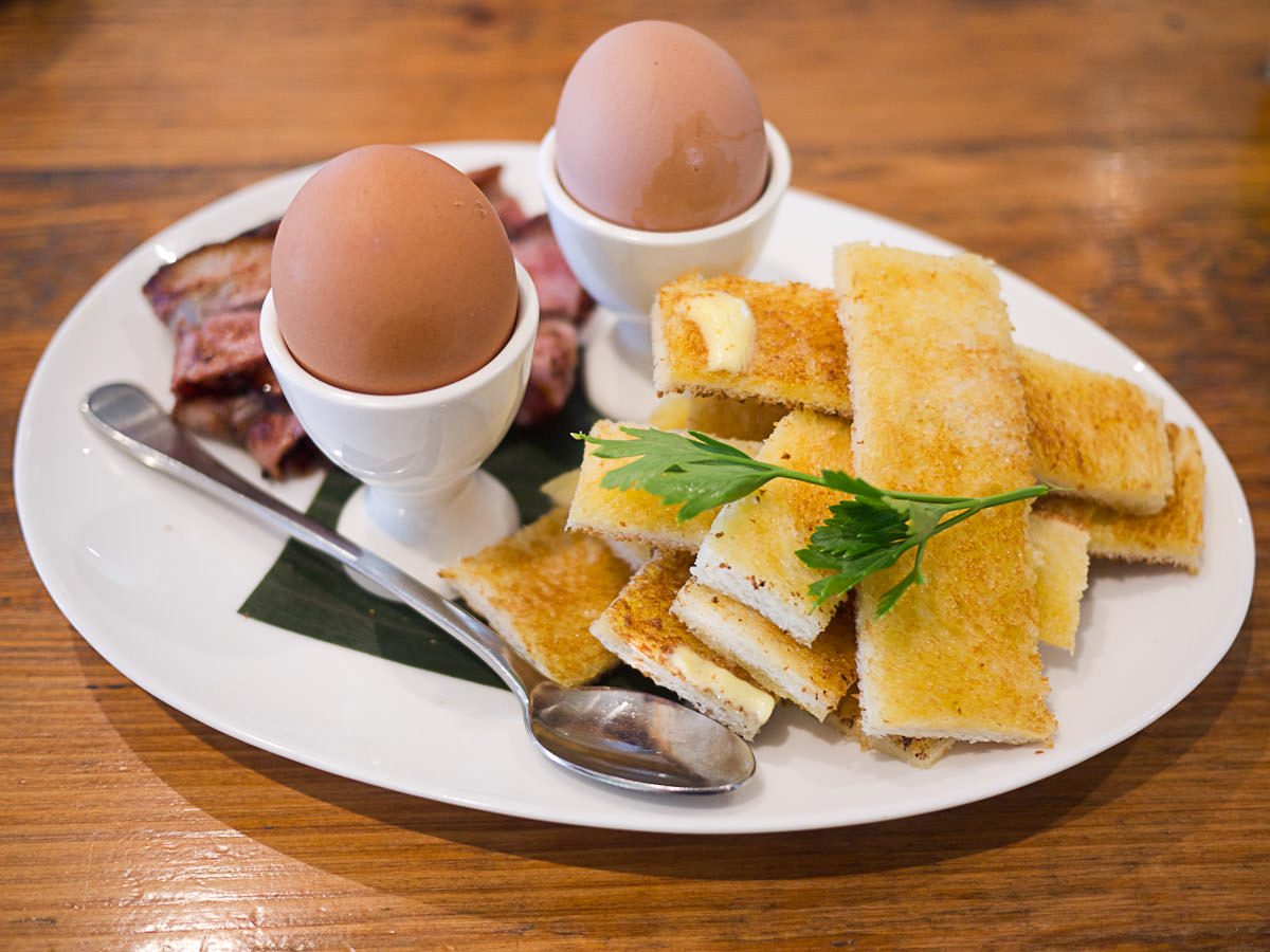 Soft boiled dippy eggs and hot buttered soldiers (AU$12)