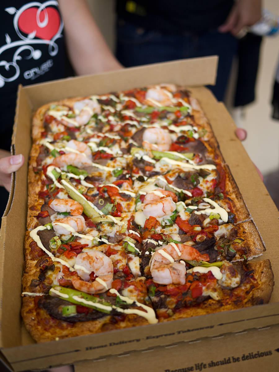Wagyu prawn pizza