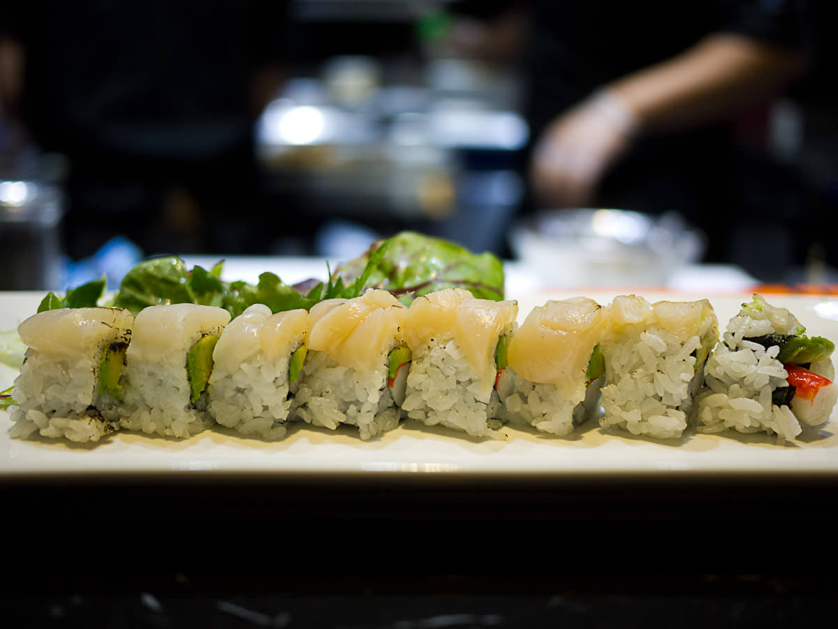 Grilled scallop and avocado roll (8pc, AU$18.50)