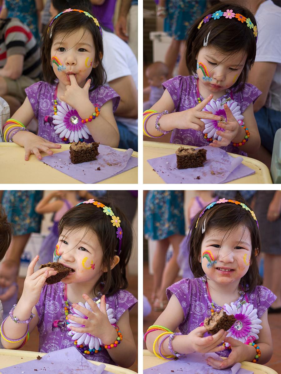 Zoe enjoys her birthday cake