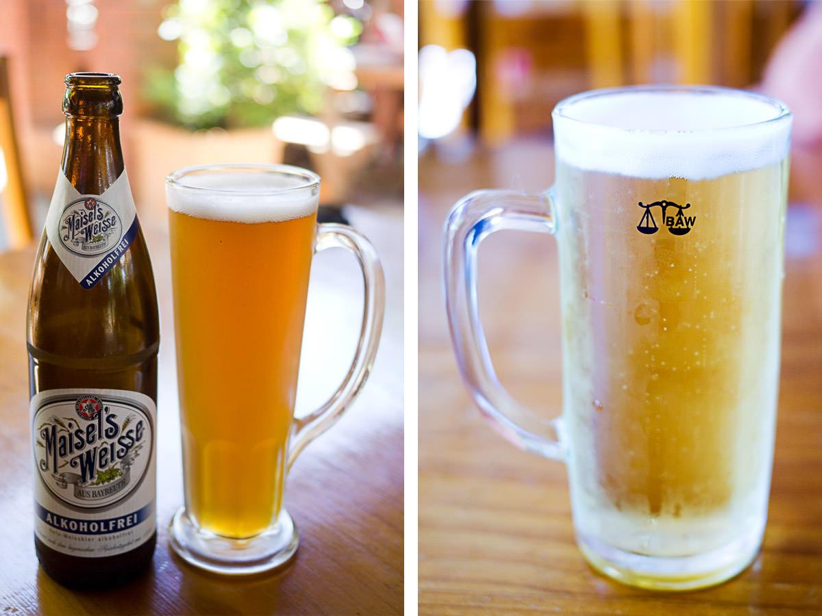 L-R: Maisel's wheat alcohol-free (bottle), Duckstein Pils (on tap)