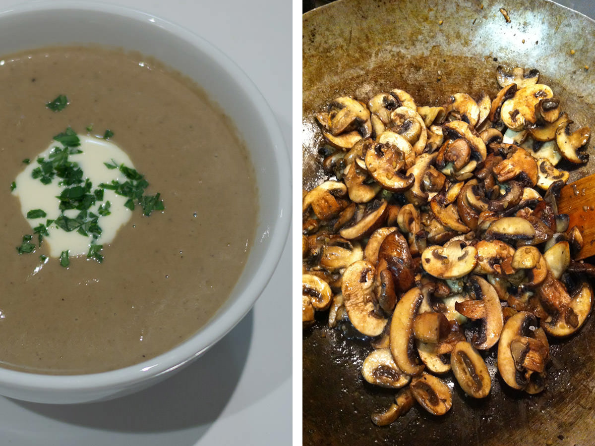 Mushroom soup and garlic mushrooms